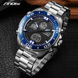 SINOBI Top Brand Dual Display Sport Men's Watch Men Watch Full Steel Fashion Wrist watches LED Digital Watch Clock reloj hombre - one46.com.au