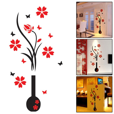 3D Art Vase Flower Plum Tree Wall Stickers Home Decor Arcylic Wall Sticker Home Room TV Decor DIY pegatinas de pared