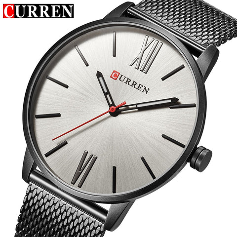 CURREN Luxury Brand Quartz Watch Men's Black Casual Business Stainless Steel Mesh band Quartz-Watch Fashion Thin Clock male - one46.com.au