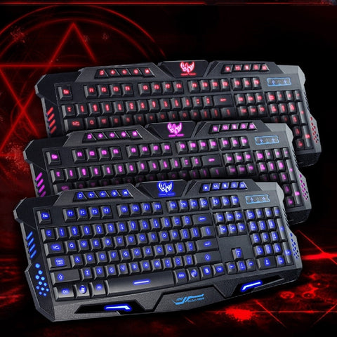 Original Gaming Keyboard USB Tricolor Background lighting 3 Colors Backlit Wired 108 Keys Keyboard for Desktop Laptop PC