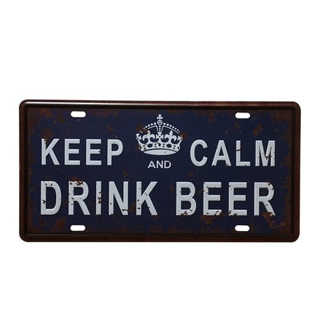 Vintage Metal Tin Sign Keep Calm Drink Beer Retro Plaque Poster Bar Pub Club Wall Tavern Garage Home Decoration 15*30cm - one46.com.au