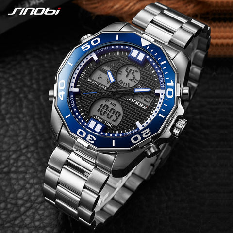 SINOBI Dual Display Wrist watches LED Digital Men's Watch Men Watch Full Steel Waterproof Sport Watches Clock saat reloj hombre - one46.com.au