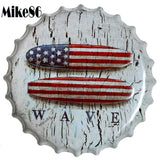 [ Mike86 ] WAVE Bottle Cap Iron Painting Vintage tin sign Pub Room Gift Party Store Wall Decor 40 CM BG-36 - one46.com.au