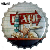 [ Mike86 ] BEACH SEA GULL Mediterranean Bottle Cap Wall Painting Retro Metal Tin sign Bar Home Party Plaque Decor 40 CM BG-33 - one46.com.au