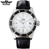 2018 WINNER popular brand men luxury automatic self wind watches creative case black dial male leather band Relogio masculino - one46.com.au