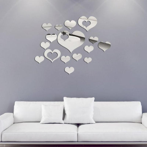 3D Acrylic DIY Mirror Wall Stickers Living Room Bedroom Poster Heart Home Decor Room Decoration - one46.com.au