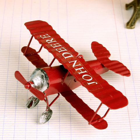 Mini Iron Plane Model 1 PC Red Blue Yellow Metal Airplane For Bar Cafe Decoration Photo Props Toy Plane Gifts Craft - one46.com.au
