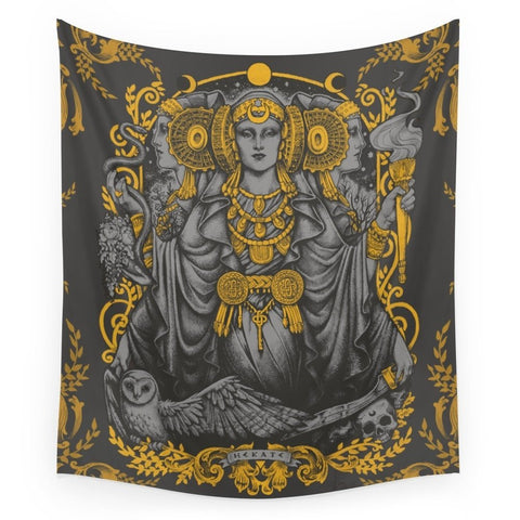 IBERIAN HECATE Gray Wall Tapestry - one46.com.au