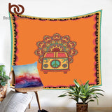BeddingOutlet Mandala Tapestry Hippie Vintage Car Orange Wall Carpet Microfiber Fabric Art Wall Hanging Bohemian Home Decoration - one46.com.au