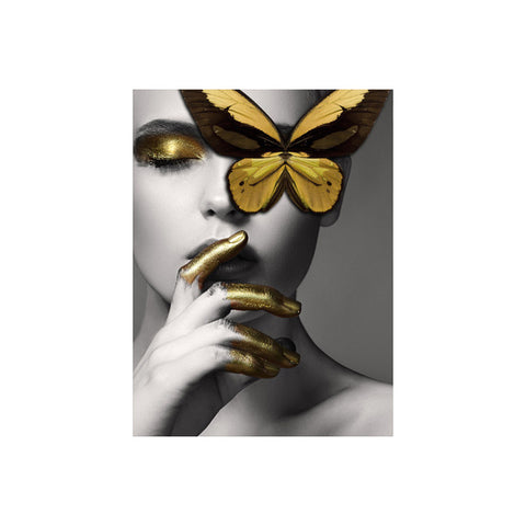 Abstract Wall Art Pictures Fashion Woman butterfly Lips Gold And White Black Modern Home Canvas Painting Beauty Decor Posters - one46.com.au
