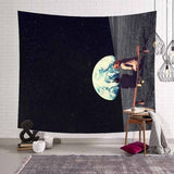 Lannidaa Cat Psychedelic Tapestry Decor Hippie Tapestry Mandala Wall Hanging Belgium Printed Wall Cloth Tapestries Manta Curtain - one46.com.au