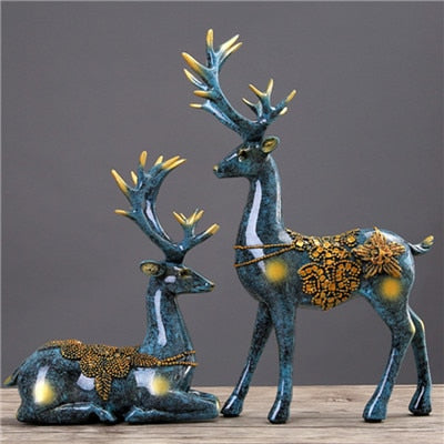 Creative European Home Eco-friendly Resin Figurines Wedding Gifts Move New Home Couple Elk Room Bedroom decorations Decor - one46.com.au