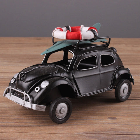 Retro Cassic Cars Figurine Metal Decoration Handmade Iron Classic Beetle Sailor Car Model Home Decoration Kid Toy Cars Crafts