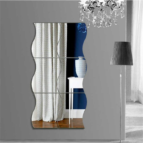 New 6 pcs Waves Shape Self-adhesive Tile 3D Mirror Wall Stickers Decal Room Decorations Modern Mirror Tiles Stickers Hot Sale - one46.com.au