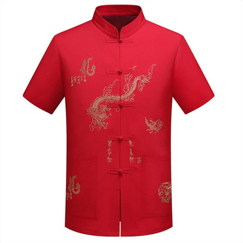 Red Black Men's Cotton Shirt Top Traditional Vintage Short Sleeve Kung Fu Tang Suit Men Chinese Dragon Printing Shirts Plus Size - one46.com.au