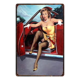 [ Mike86 ] Pin up Lady Tin sign Art  wall Festival decoration Pub Cafe Bar Party Vintage Metal Painting A-254  20*30 CM - one46.com.au