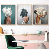 Modern Posters and Prints Flowers Feather Women Print Oil Painting Canvas Wall Art Pictures for Living Room Home Decoration - one46.com.au