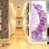 3 piece art corridor on the wall stereoscopic orchid canvas oil painting print living room on the wall modular pictures printd - one46.com.au