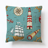 New Modern Sailing Ships Marine Printing Cushion Covers Anchor Rudder Linen Throw Pillow Case For Couch Seat Bedroom Home Decor - one46.com.au