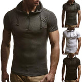 Summer Men's Hoodie T Shirts Muscle Tee Short Sleeve Zipper Cotton Slim Fitness Tshirt Bodybuilding Hooded Male Tops HipHop 3XL - one46.com.au