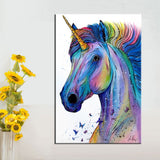 QKART Nordic Poster Canvas Painting Colorful Unicorn Wall Pictures for Living Room Bedroom Oil Painting Posters and Prints - one46.com.au