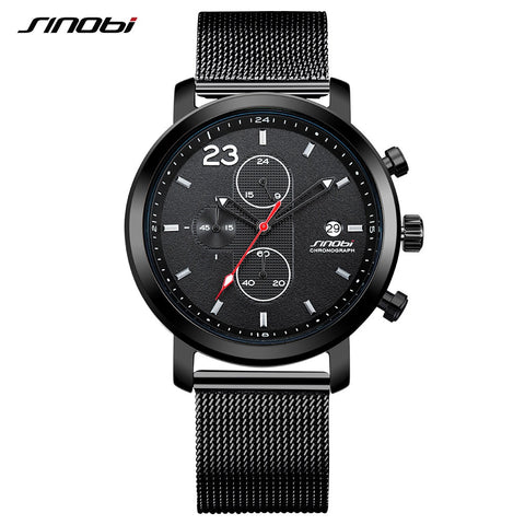 SINOBI Top Brand Men's Chronograph Sport Watches Auto Date Military Men's Watch Men Watch Waterproof Watches Clock reloj hombre - one46.com.au