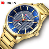 Luxury Royal Blue Gold Men Business Quartz Watches Curren Fashion Military Stainless Steel Waterproof Sport Wrish Watch Clock - one46.com.au