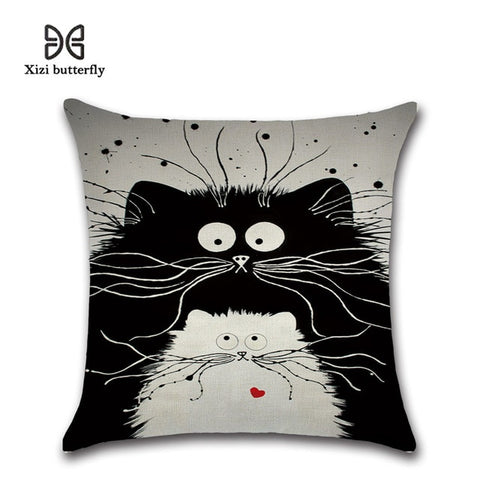 New Cartoon Cat Linen Cushion Cover 45X45cm Pillow Case Home Decorative Pillows Cover For Sofa Car Cojines - one46.com.au