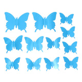 12Pcs/lot 3D Mirror Wall Stickers Butterflies Decoration PVC Art Sticker Living Room Bedroom Adhesive Wall Pappers - one46.com.au