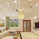 48 Pcs Stars Sky Style Mirror Sticker Wall Ceiling Room Decal Decor Art DIY Golden, Silvery, Blue Stars Wall Stickers - one46.com.au