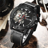 CURREN Multifunction Men Creative Sport Watches Casual Leather Strap Waterproof Chronograph Men Quartz Wrist Watch Gift Clock - one46.com.au