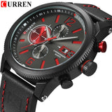 Luxury Men Outdoor Sport Watches Curren Waterproof Casual Militrary Quartz Wrist Watch Fashion Leather Strap Business Clock - one46.com.au