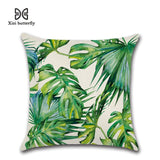 Tropical Plants Palm Leaf Green Leaves Monstera Cushion Covers Hibiscus Flower Cushion Cover Decorative Beige Linen Pillow Case - one46.com.au