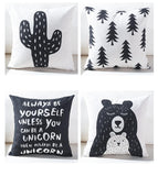 Black And White Cute Bear Cushion Cover Lovely Cartoon Animal Cactus Plant Geometric Pillow Case Nordic Style For Home Chair - one46.com.au