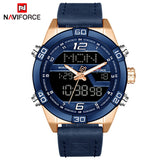 NAVIFORCE Top Luxury Brand Men Military Sport Watches Men's Waterproof Quartz Wrist Watch Male Leather Led Digital Clock 9128 - one46.com.au