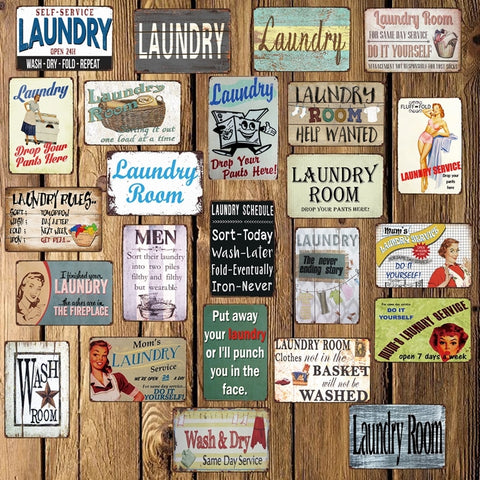 [ Mike86 ] Laundry Room Drop Your Pants Here Funny Metal Sign Home Bar Hotel Wall Painting Plaque Poster Party Bar Decor FG-242 - one46.com.au