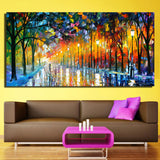 Large Printed Landscape Painting Walling In Rain Light Road Palette Knife Oil Painting Wall Art Print Decor Home Decoration - one46.com.au