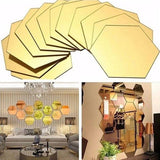 12Pcs 3D Hexagon Acrylic Mirror Wall Stickers DIY Art Wall Decor Stickers Home Decor Living Room Mirrored Decorative Sticker - one46.com.au