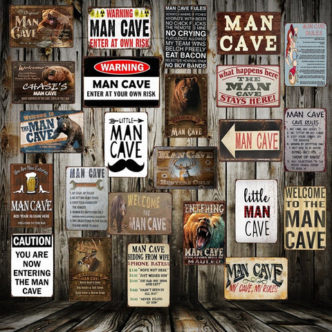 [ Mike86 ] Man Cave Rule ENTER AT YOUR OWN RISK Metal Tin Sign Home Bar Hotel Wall Painting Plaque Party Bar Public Decor FG-258 - one46.com.au