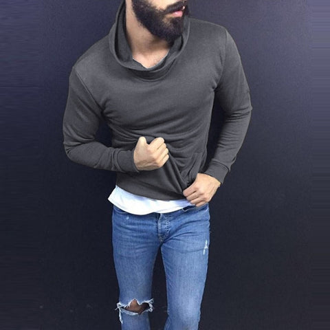 Fashion Men Tshirts Hiphop Casual T Shirts Autumn Long Sleeve Solid Color Turtleneck Tee Tops Men Clothes Pullovers Hombre - one46.com.au