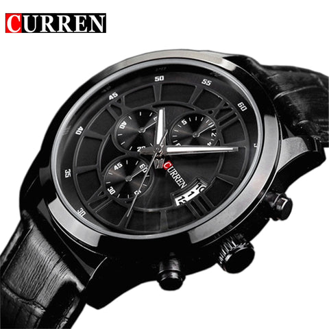 Fashion Curren Brand Business Black Man Wrist watch Date Genuine Leather waterproof Casual wristwatch Male Relojes hombre - one46.com.au