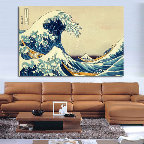 JQHYART POSTER Katsushika Hokusai The Great Wave At Kanagawa Canvas Art Home Decor Modern No Frame Oil Painting