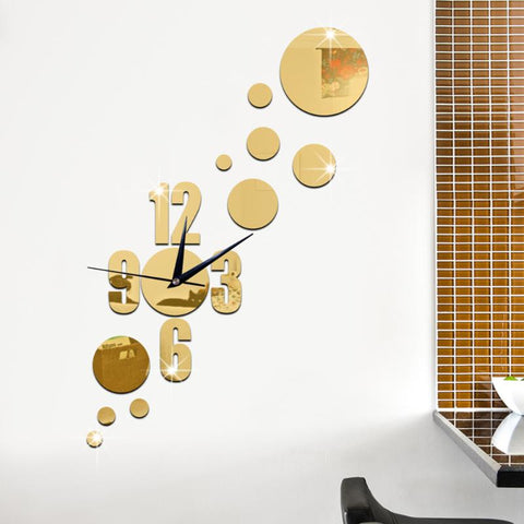 Dot Acrylic Mirror Clock Stickers Self-Adhesive DIY Hanging Clock For Living Room Accessories Art Decor Gifts - one46.com.au