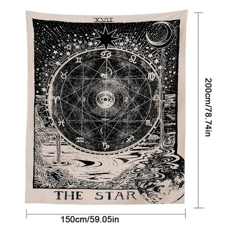 Tarot Tapestry Medieval European Wall Hanging Tapestry The Sun Moon Star Dorm Room Astrology Mysterious Wall Tapestry Home Decor - one46.com.au
