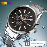 SKMEI Men's Luxury Brand Chronograph Mens Sports Watches	 Waterproof Stainless Steel Quartz  Watch Relogio Masculino 9175 - one46.com.au