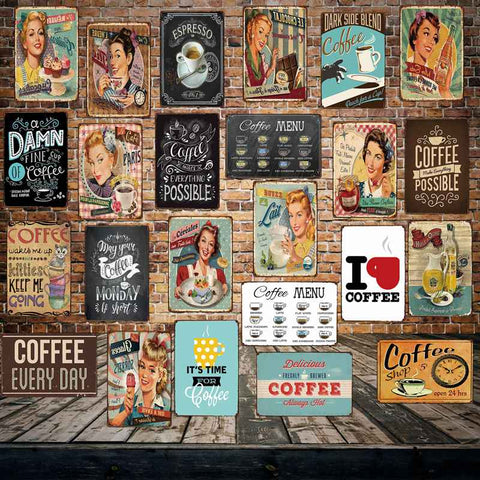 [ Mike86 ] Coffee Menu Cake Food Metal Sign Home Store Farm Decor Vinage shabby chic  Wall Poster Art 20*30 CM FG-260 - one46.com.au