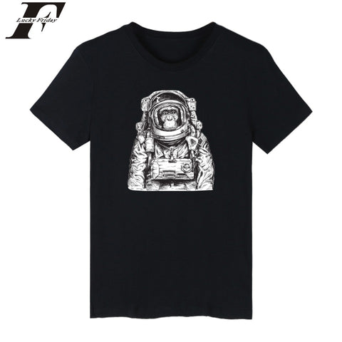 LUCKYFRIDAYF Space Orangutan Tee Shirts Short Sleeve Summer Streetwear Casual Tshirts Cotton Men King Kong 4XL Funny T Shirts - one46.com.au