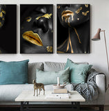 Beautiful Golden Black Lady Golden Canvas Painting Fashion Poster Print For Living Room HD Wall Art Ins Home Cuadros Decoracion - one46.com.au