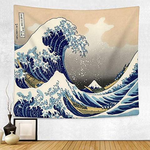 Japan Kanagawa Waves Printed Hanging Tapestry Whale Arowana Wall Hanging Tapestries Boho Bedspread Yoga Mat Blanket 200*148cm - one46.com.au