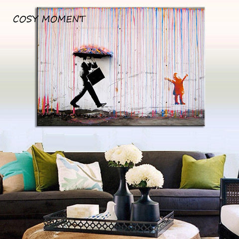 COSY MOMENT Banksy Art Prints Colorful Rain Canvas Painting Banksy Poster Wall Art Painting Decor For Living Room ZS024 - one46.com.au